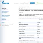 Gazprom - Risultati 2011