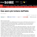 Sole24Ore - Gas azero più lontano dall'Italia