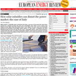 European Energy Review - Carlo Stagnaro - How solar subsidies can distort the power market: the case of Italy