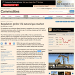Regulators probe UK natural gas market