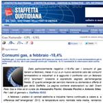Consumi gas, a febbraio -18,4%