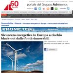 Sicurezza energetica in Europa a rischio black-out dalle fonti rinnovabili