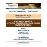ZOOM - Vox Clamantis in deserto. Le politiche energetiche dell'Unione Europea nel contesto globale