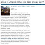 CSIS - Crisis in Ukraine: What role does energy play?