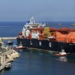 The Offshore LNG regasification terminal, the FSRU Toscana, is towed into Valletta's Grand Harbour July 1, 2013. The FSRU Toscana, a converted ship and the first offshore-moored floating regasification plant in the world, is on its way from Dubai to Livorno, Italy, where it will be permanently moored and used as a gas terminal and export point, according to local media.  REUTERS/Darrin Zammit Lupi (MALTA - Tags: MARITIME BUSINESS ENERGY) MALTA OUT. NO COMMERCIAL OR EDITORIAL SALES IN MALTA