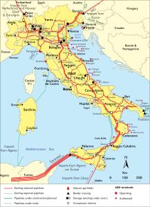 Le infrastrutture del gas in Italia (© IEA)