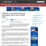 Reuters - UPDATE 1-China finds shale gas challenging, halves 2020 output target