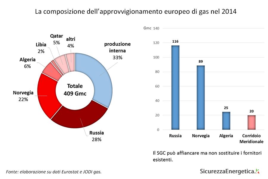 La composizione dell'approvvigionamento europeo di gas nel 2014