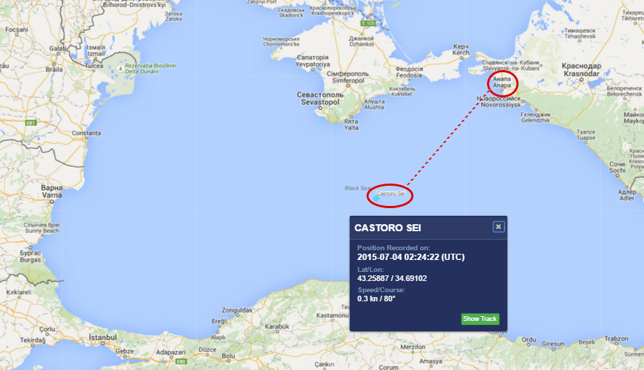 MarineTraffic - Castoro Sei verso Anapa