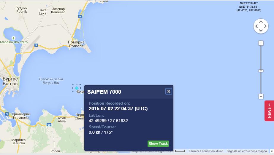 MarineTraffic - Saipem 7000